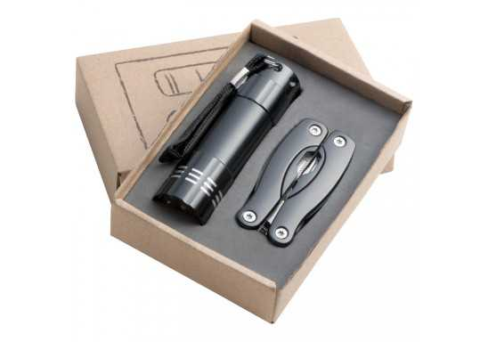 Gift Set With A 9LED Aluminium Torch And A MultiTool