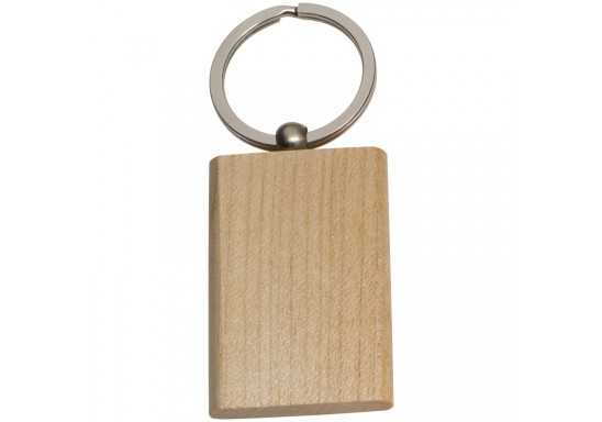 Beech Wood Rectangular Key Ring