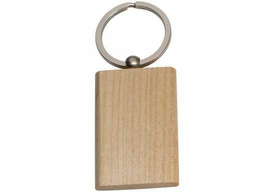 Beech Wood Rectangular Key Ring