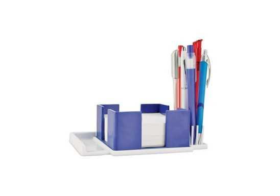 Pen & Paper Cube Holder - Blue