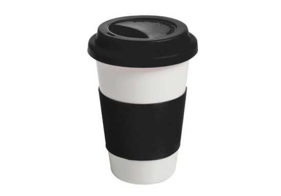 Ceramic Mug with Silicone Grip - Black