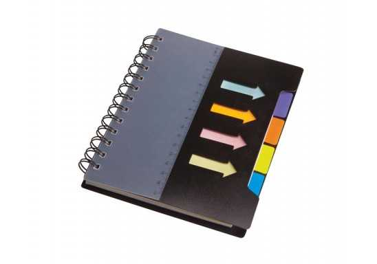 Spiral Notebook with sticky notes & flags