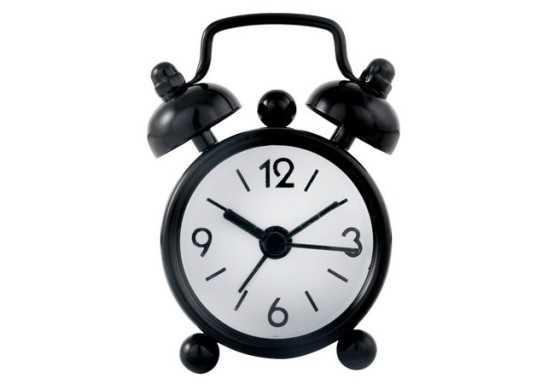 Mini Twin Bell Alarm Clock - Black
