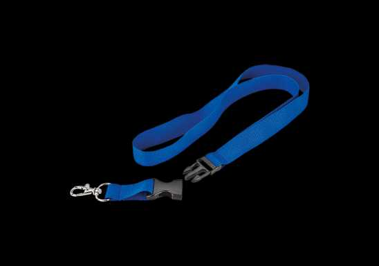 Woven Lanyard With Plastic Buckle - Blue