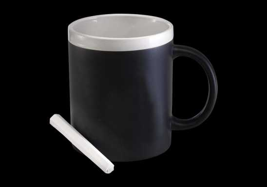 300ml Stoneware Chalk Board Mug - Black and white