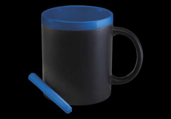 300ml Stoneware Chalk Board Mug - Blue