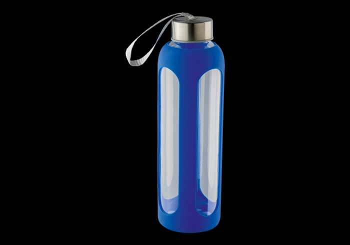 600ml Silicone Grip Water Bottle With Carry Strap - Blue