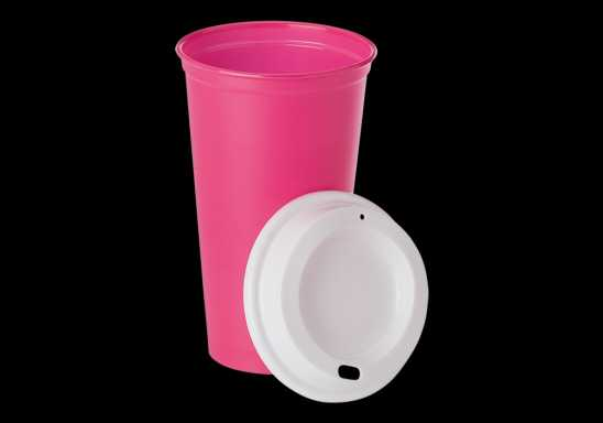Plastic Mug with Lid 520ml - Pink