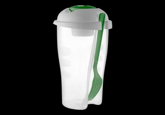 Salad Shaker with Salad Dressing Container and Fork - Green