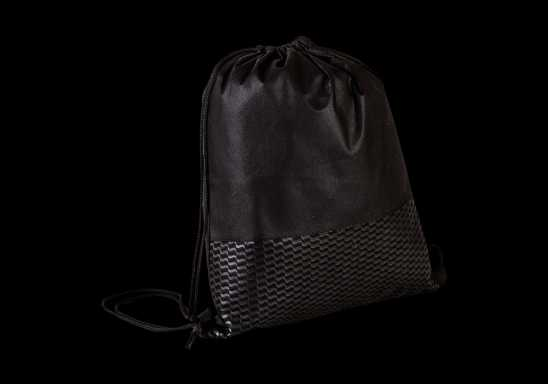 Wave Design Drawstring Bag - Non-Woven - Black
