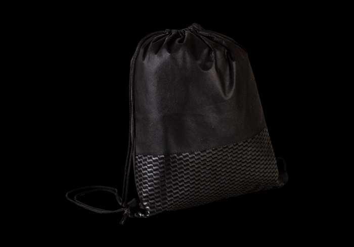 Wave Design Drawstring Bag - Non-Woven - Black