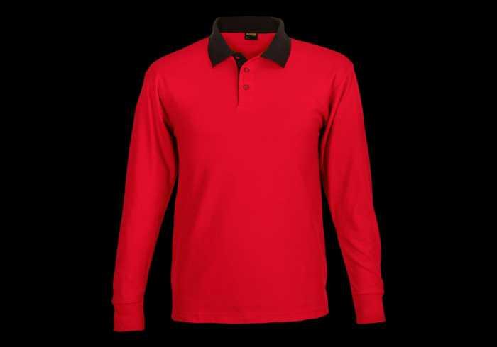 Archer Long Sleeve Golfer - Red/black