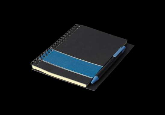 Coloured Stripe Notebook with Pen - Blue