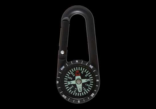 Carabiner Clip with Compass - Black