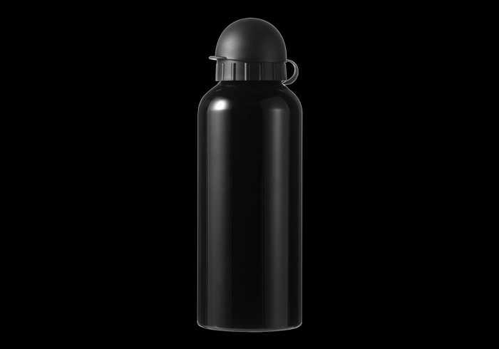 650ml Aluminium Water Bottle with Black Cap - Black