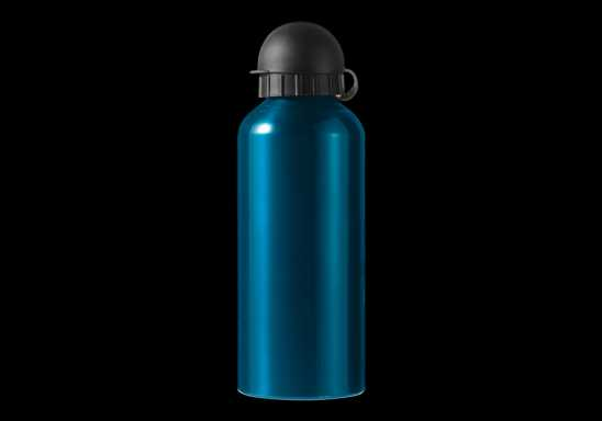 650ml Aluminium Water Bottle with Black Cap - Blue