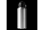 650ml Aluminium Water Bottle with Black Cap - Silver