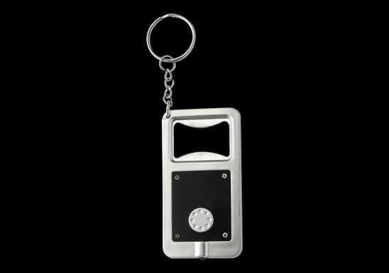 Keychain with Bottle Opener and LED Light - Black