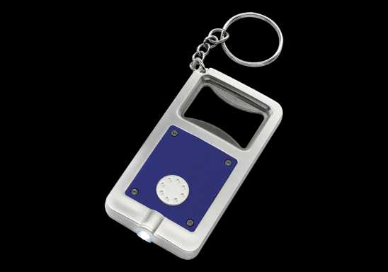 Keychain with Bottle Opener and LED Light - Blue