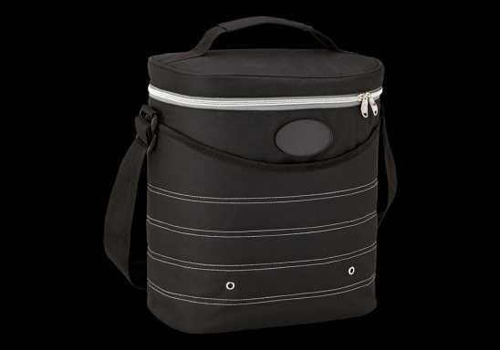 Oval Cooler Bag with Shoulder Strap - Black