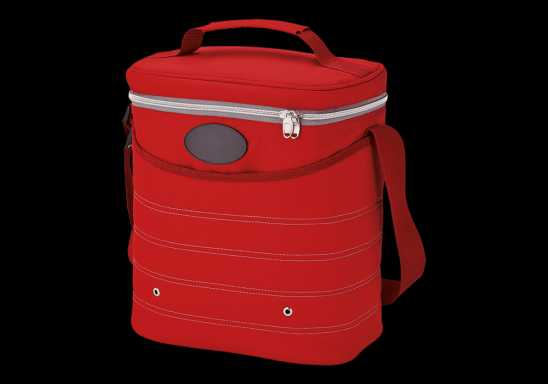 Oval Cooler Bag with Shoulder Strap - Red