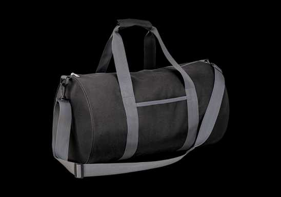 Barrel Shaped Sports Bag - Black