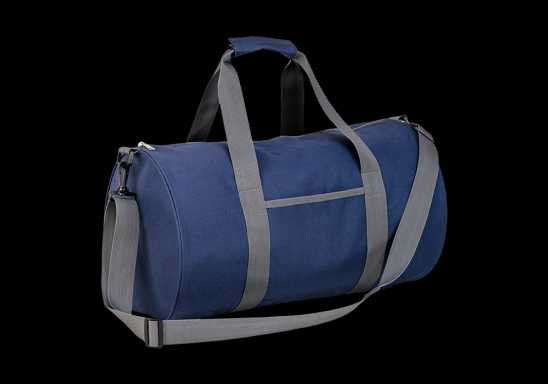 Barrel Shaped Sports Bag - Navy