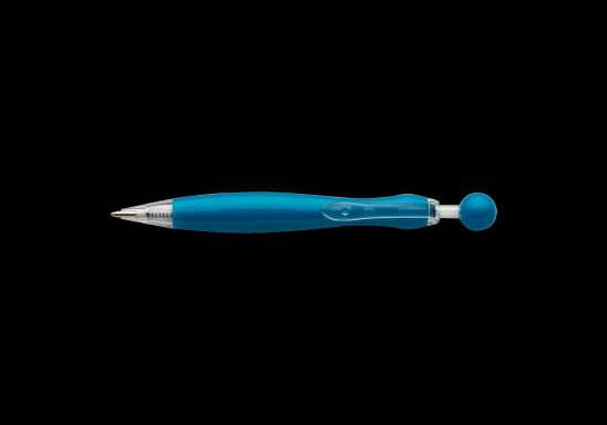 Curved Ballpoint Pen with Ball Plunge Mechanism - Blue