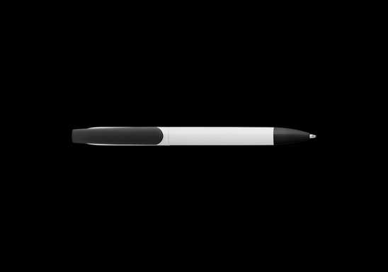 Twist Action Ballpoint Pen With White Barrel - Black