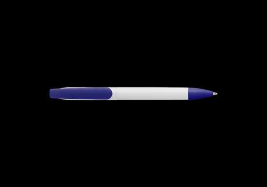Twist Action Ballpoint Pen With White Barrel - Blue