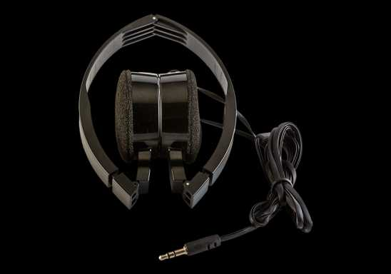 Foldable Headphones in Fabric Bag - Black