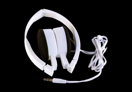 Foldable Headphones in Fabric Bag - White