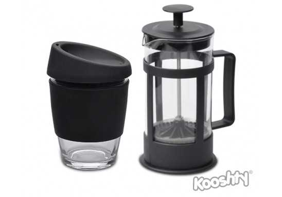 Kooshty Single Koffee Set With Black Plunger - Black