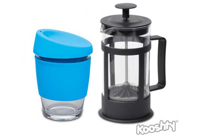 Kooshty Single Koffee Set With Black Plunger - Aqua