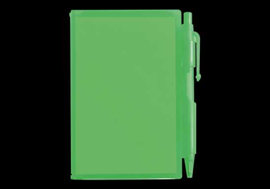 Notebook and Pen in Plastic Case - Green