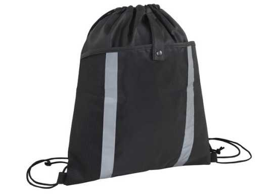 Front Pouch Drawstring Bag - Black