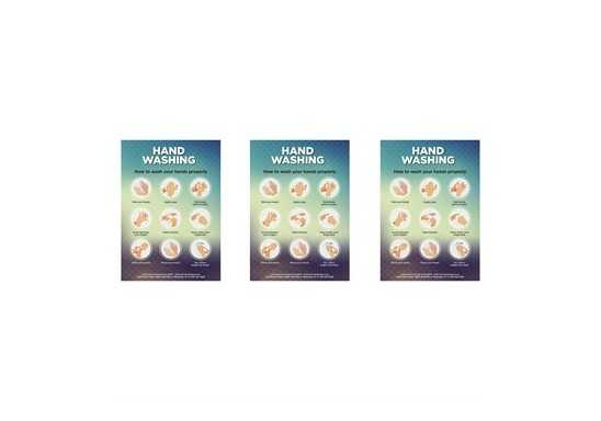 Saturn A2 Hand Wash Poster - Set of 3