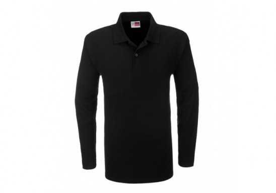 US Basic Boston Mens Long Sleeve Golf Shirt - Black