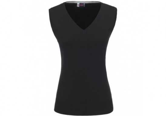 US Basic Ladies Sleeveless Trenton V-Neck Jersey - Black