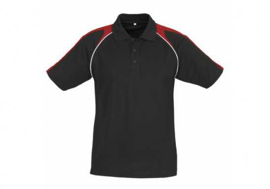 Triton Mens Golf Shirt - Black With Red