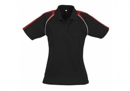 Triton Ladies Golf Shirt - Black With Red